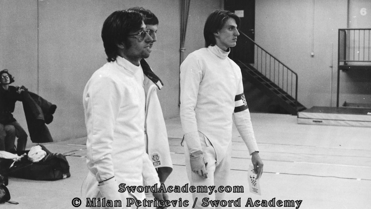 Photograph of Milan representing Croatia in its first sports appearance (ever!). Visible are three members of the Croatian National Fencing Team in European Championship October 1991 in Wien / Vienna.