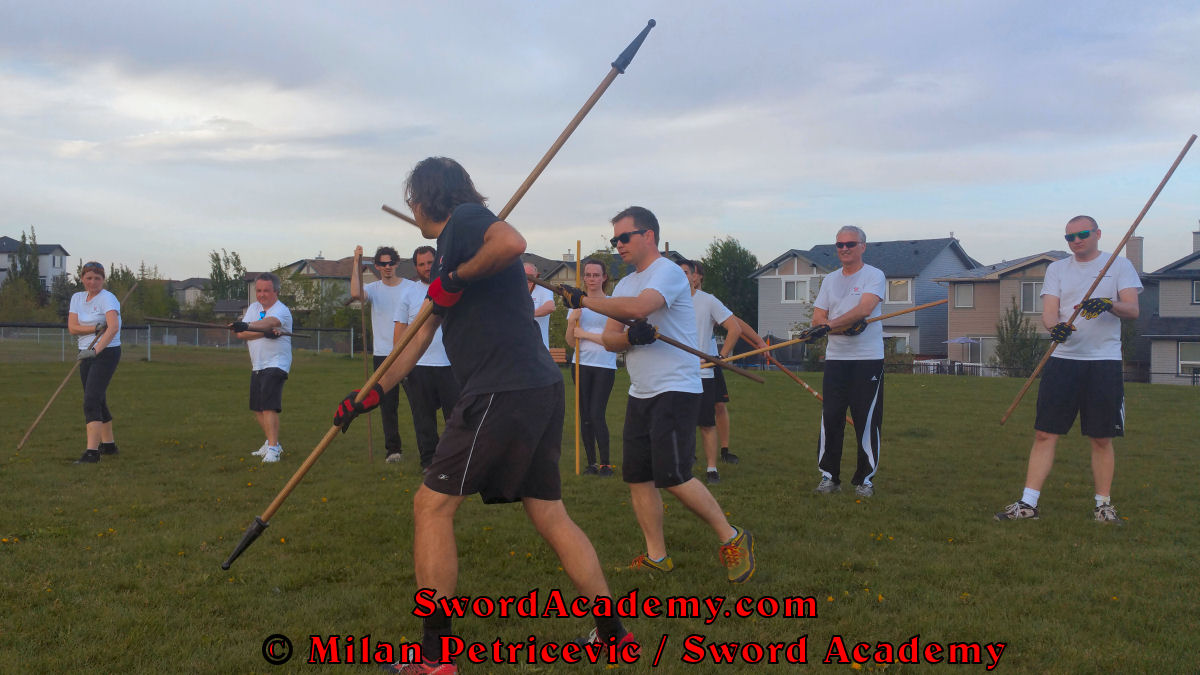 Milan teaches the staff skills to the students in the outdoor Sword Academy class session. Based on historical sources from German renaissance period, part of Sword Academy HEMA / WMA / Martial Arts curriculum.